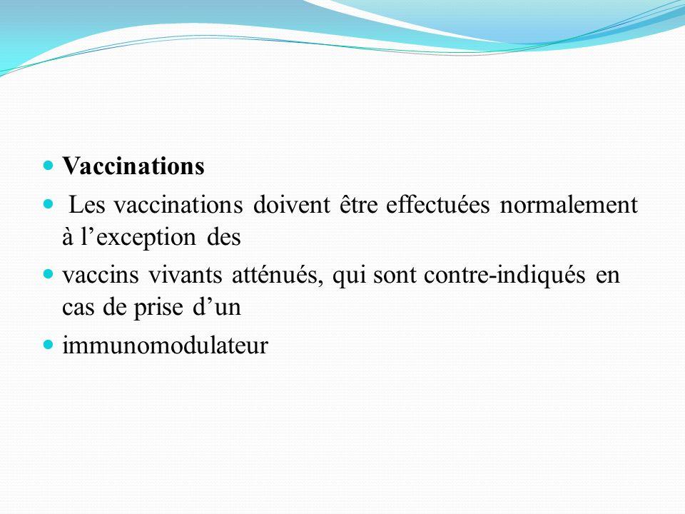 Vaccinations Les vaccinations doivent être effectuées normalement à l'exception des.