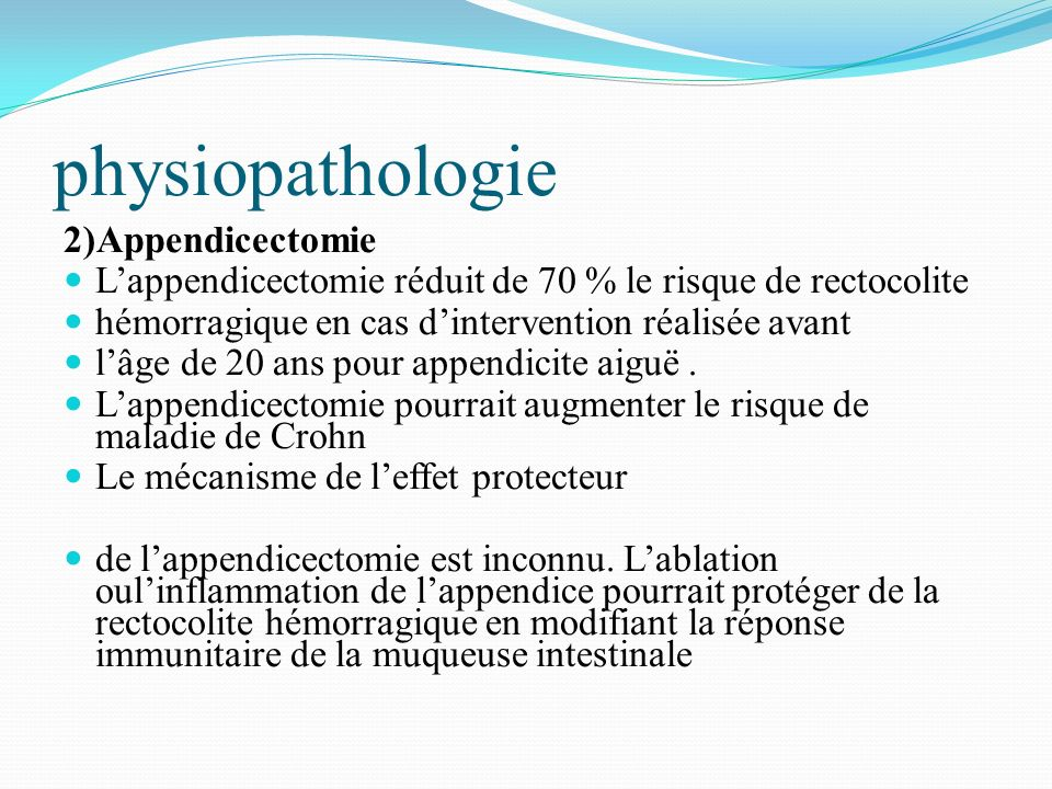 physiopathologie 2)Appendicectomie