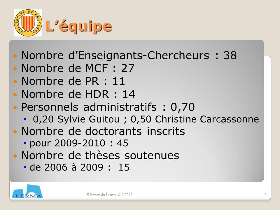 L'équipe Nombre d'Enseignants-Chercheurs : 38 Nombre de MCF : 27