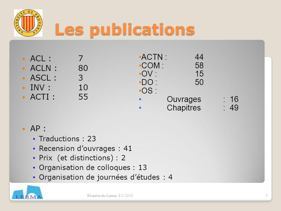 Les publications ACL : 7 ACTN : 44 ACLN : 80 COM : 58 OV : 15 ASCL : 3