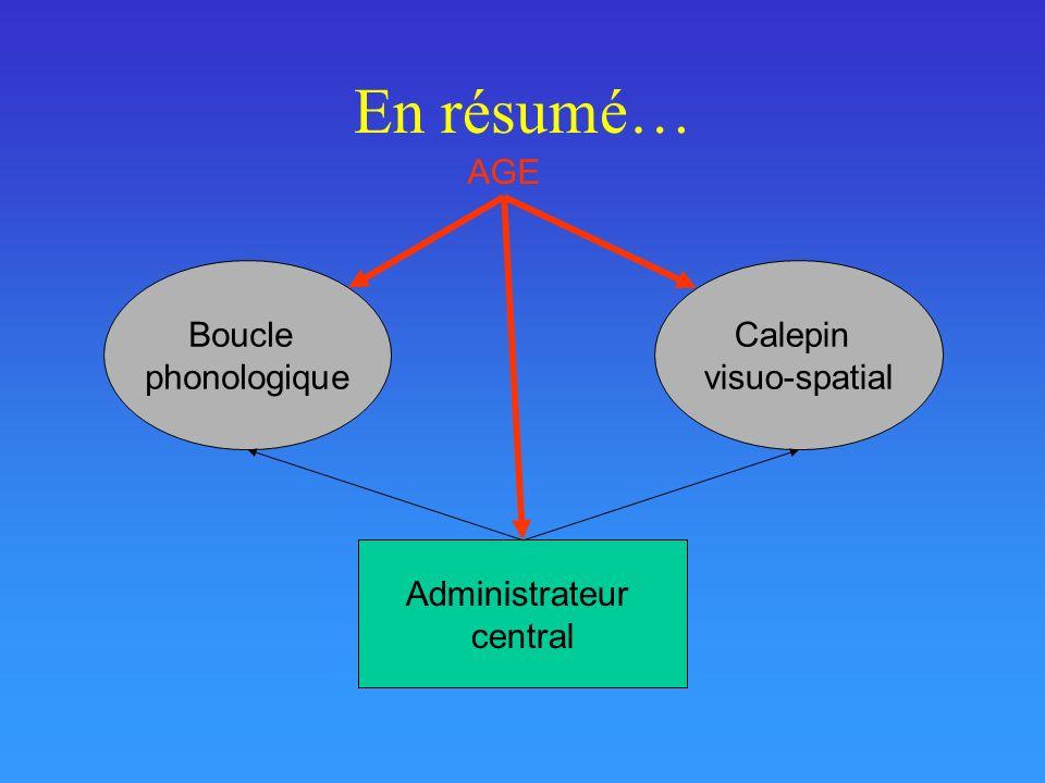 En résumé… AGE Boucle phonologique Calepin visuo-spatial