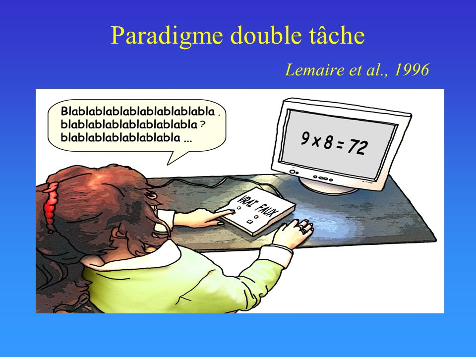 Paradigme double tâche Lemaire et al., 1996