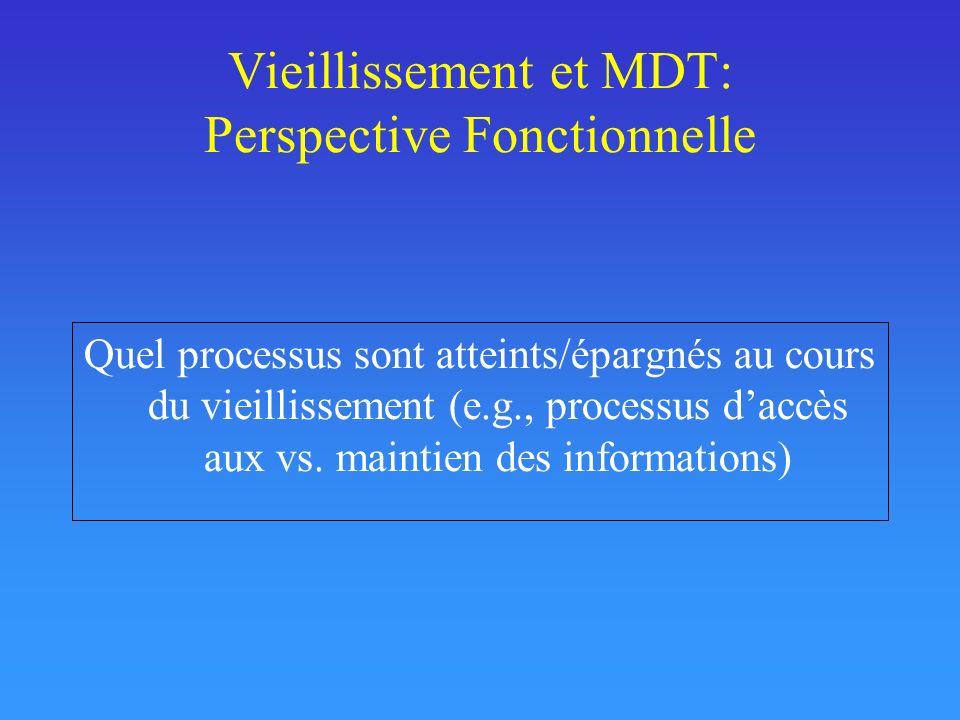 Vieillissement et MDT: Perspective Fonctionnelle