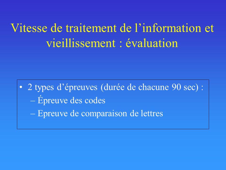 Vitesse de traitement de l'information et vieillissement : évaluation