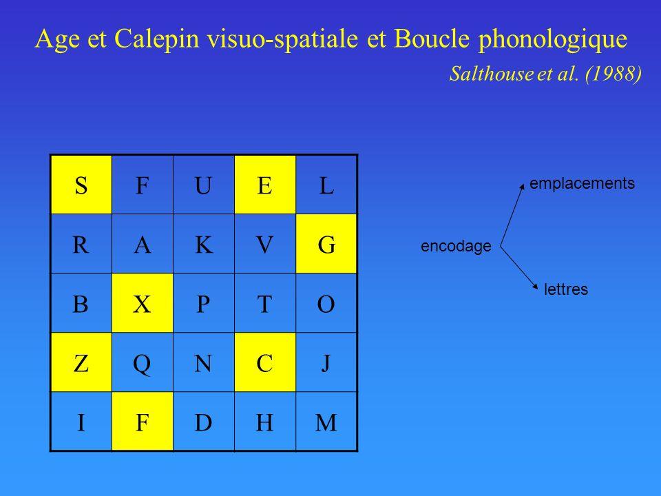 Age et Calepin visuo-spatiale et Boucle phonologique. Salthouse et al