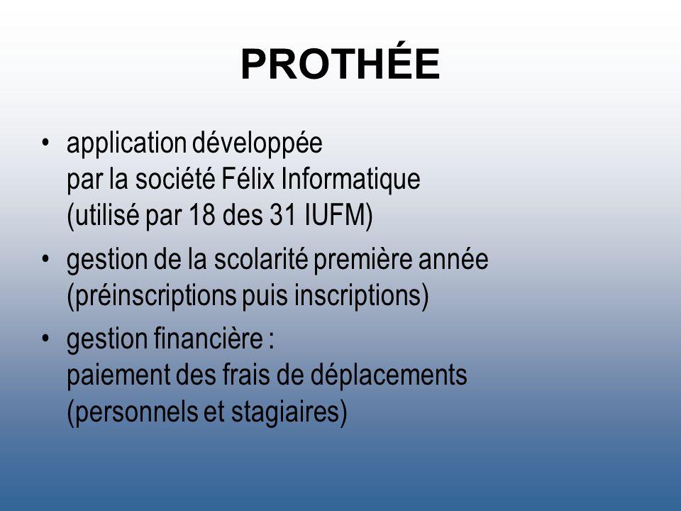 PROTHÉE application développée par la société Félix Informatique (utilisé par 18 des 31 IUFM)