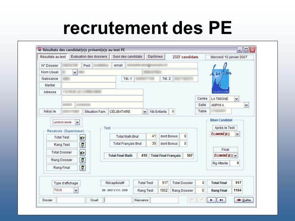 recrutement des PE