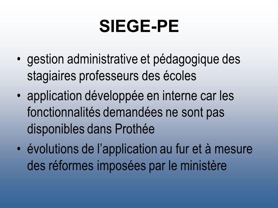 SIEGE-PE gestion administrative et pédagogique des stagiaires professeurs des écoles.