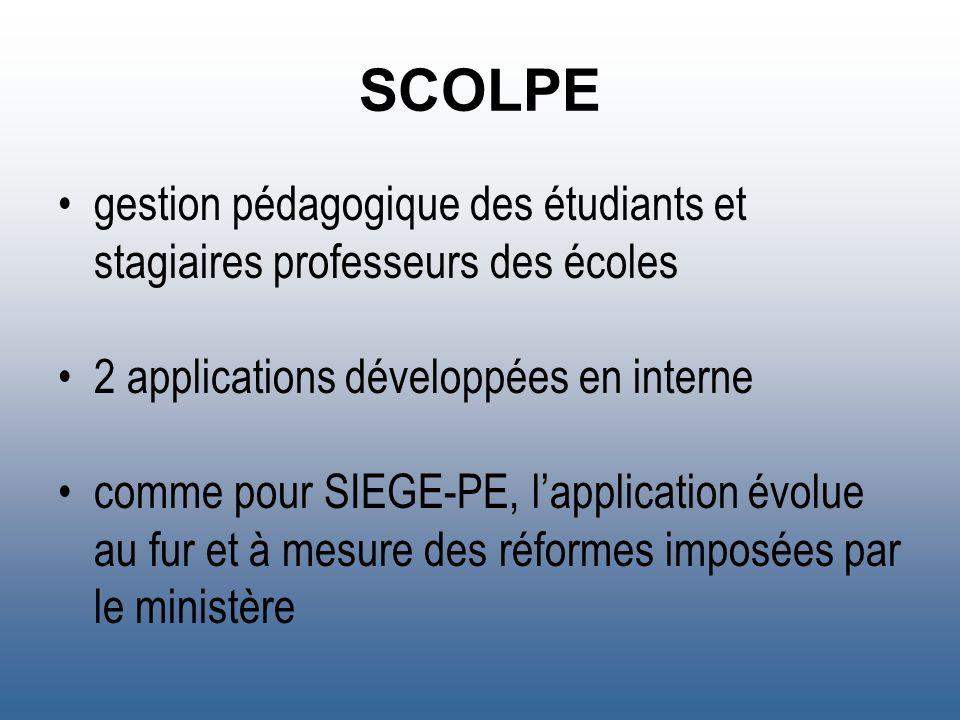 SCOLPE gestion pédagogique des étudiants et stagiaires professeurs des écoles. 2 applications développées en interne.