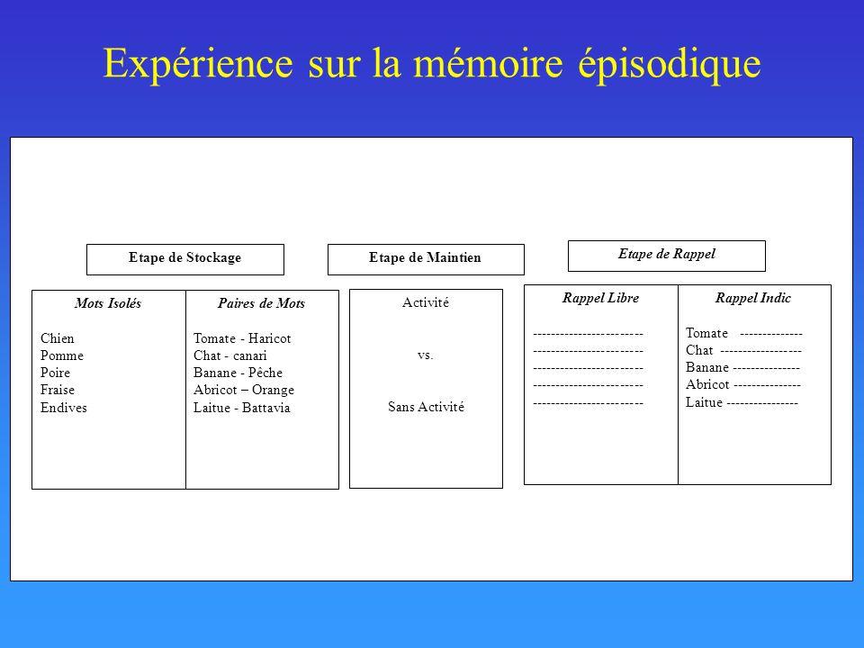 Expérience sur la mémoire épisodique