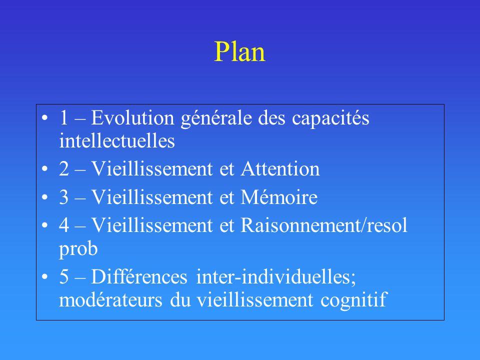 Plan 1 – Evolution générale des capacités intellectuelles