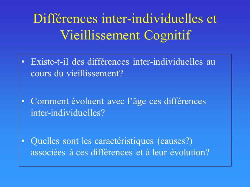 Différences inter-individuelles et Vieillissement Cognitif