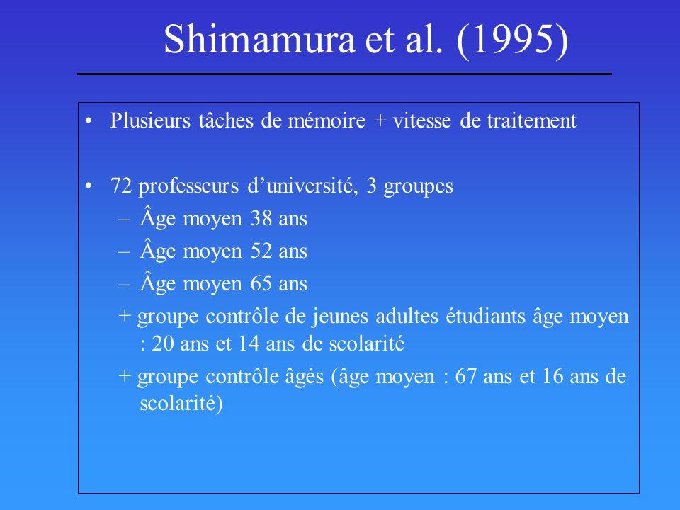 Shimamura et al. (1995) Plusieurs tâches de mémoire + vitesse de traitement. 72 professeurs d'université, 3 groupes.