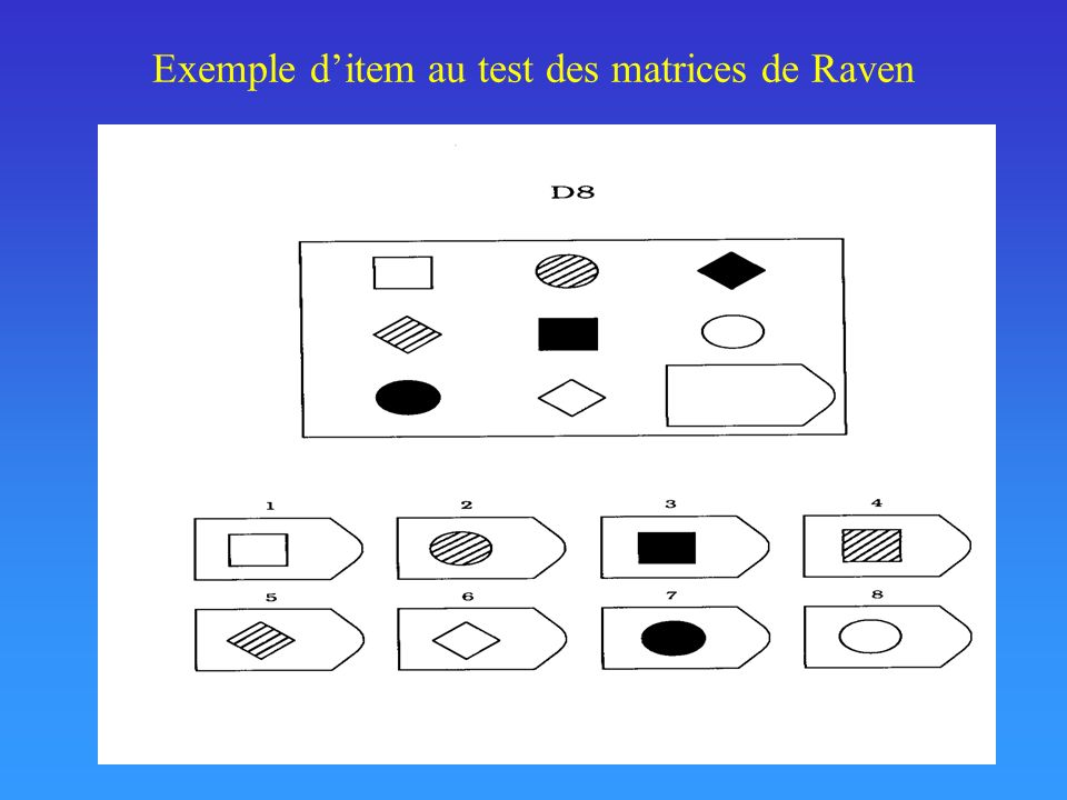 Exemple d'item au test des matrices de Raven