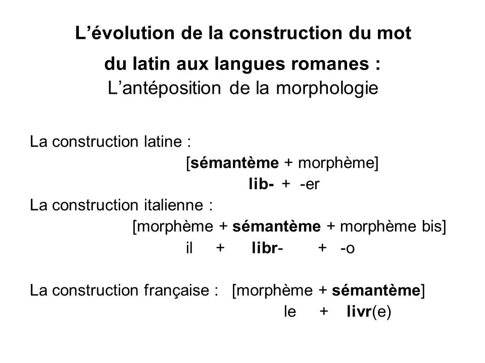 L'évolution de la construction du mot du latin aux langues romanes : L'antéposition de la morphologie