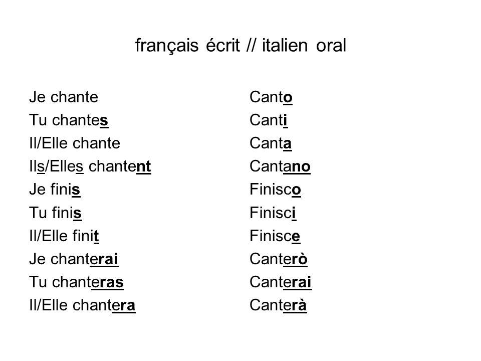 français écrit // italien oral
