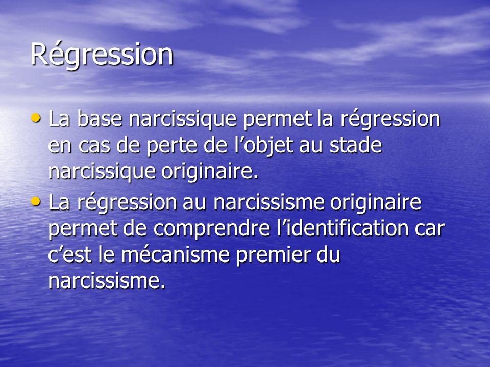 Régression La base narcissique permet la régression en cas de perte de l'objet au stade narcissique originaire.
