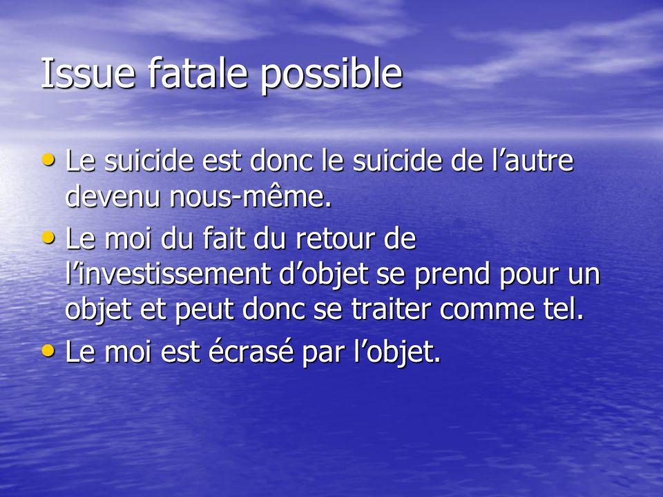 Issue fatale possible Le suicide est donc le suicide de l'autre devenu nous-même.
