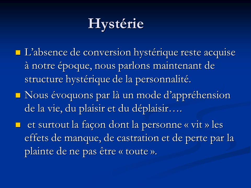 Hystérie L'absence de conversion hystérique reste acquise à notre époque, nous parlons maintenant de structure hystérique de la personnalité.