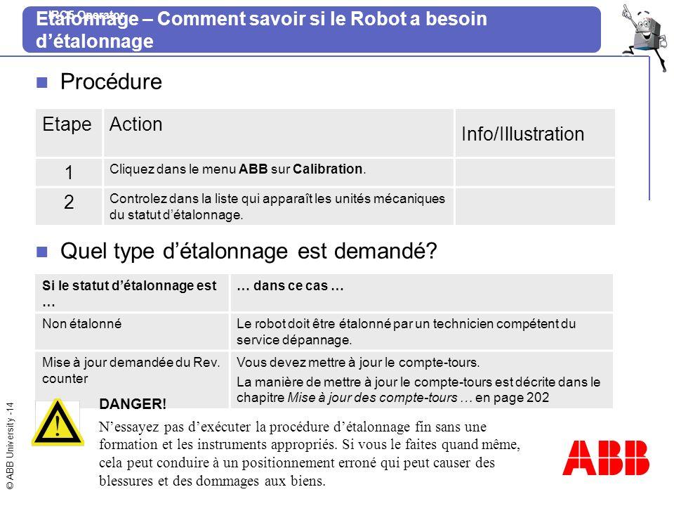 Etalonnage – Comment savoir si le Robot a besoin d'étalonnage