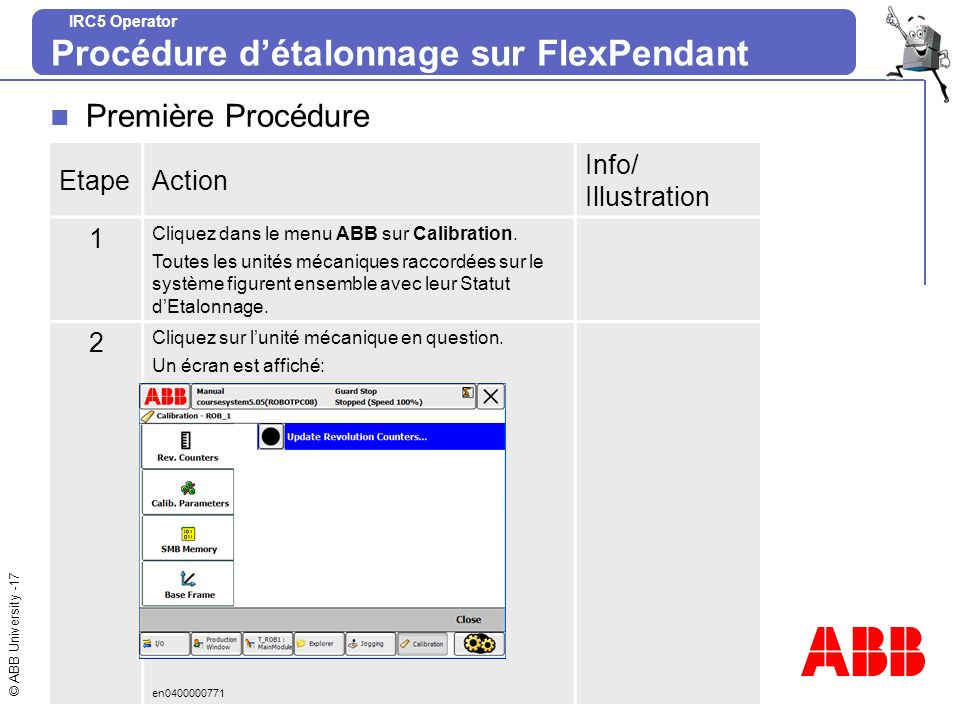 Procédure d'étalonnage sur FlexPendant