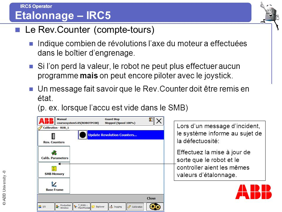Etalonnage – IRC5 Le Rev.Counter (compte-tours)