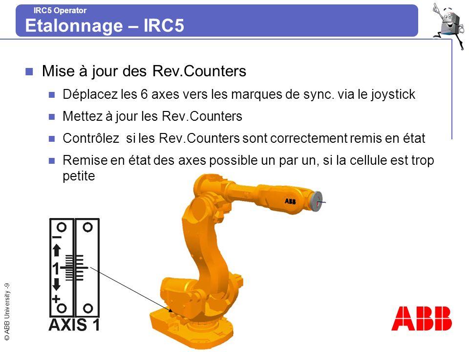 Etalonnage – IRC5 Mise à jour des Rev.Counters