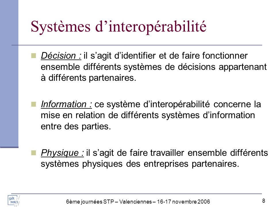 Systèmes d'interopérabilité