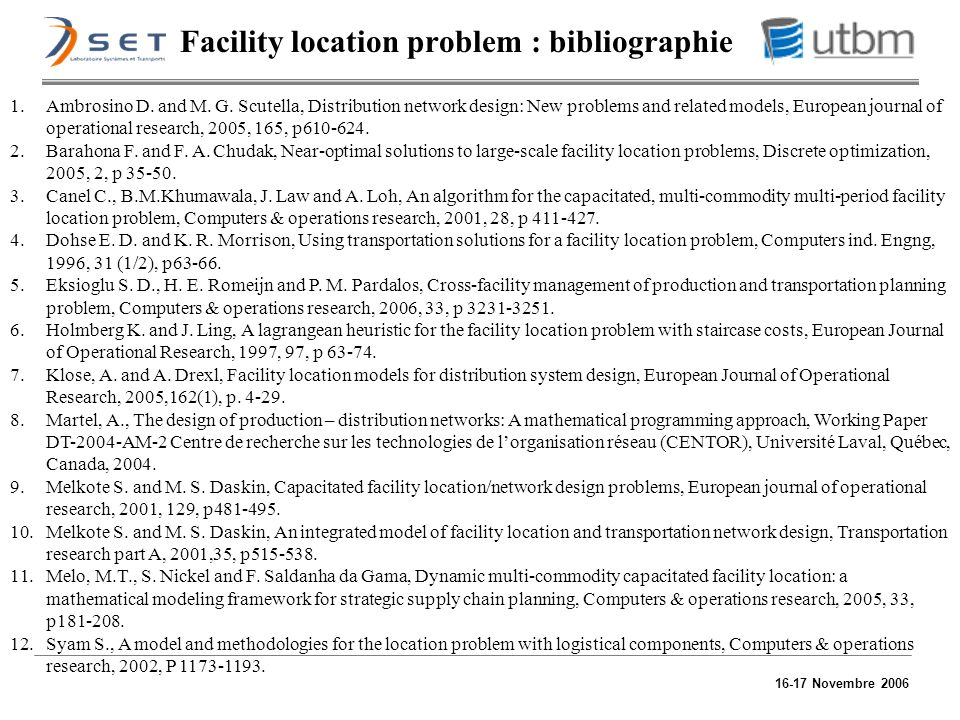 Facility location problem : bibliographie