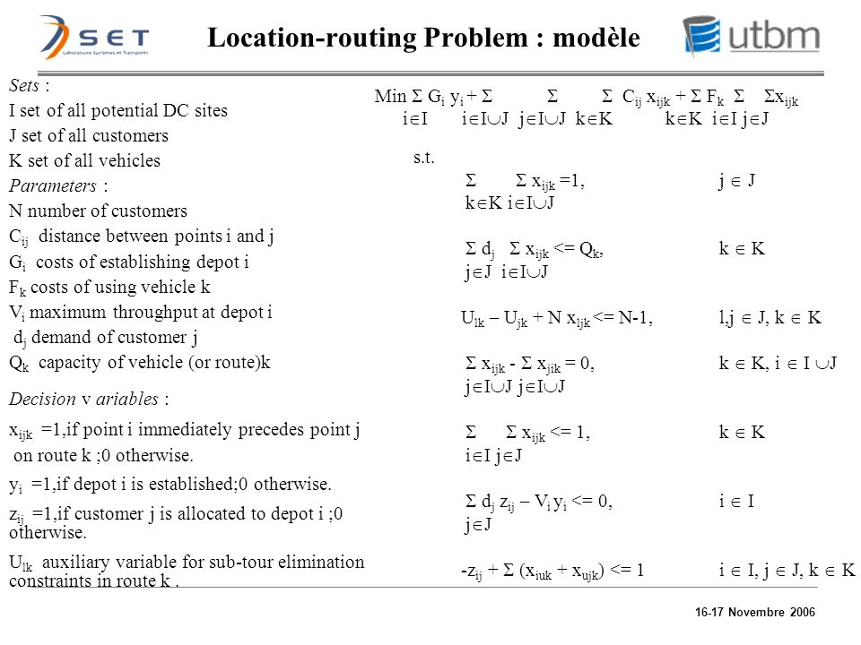 Location-routing Problem : modèle