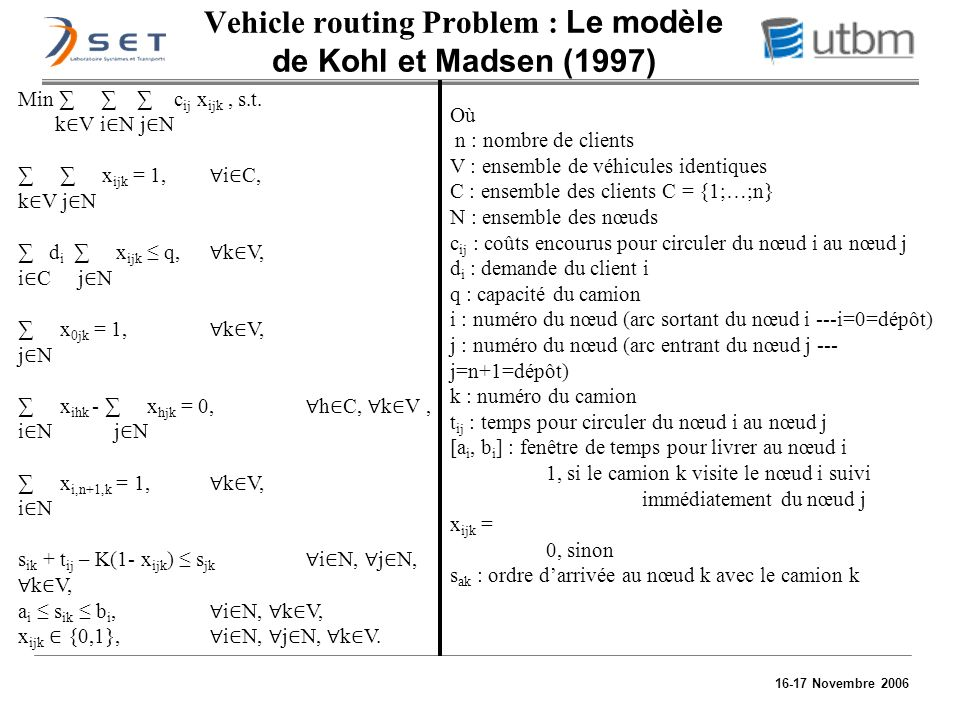 Vehicle routing Problem : Le modèle de Kohl et Madsen (1997)