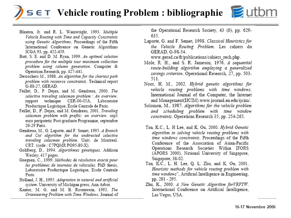 Vehicle routing Problem : bibliographie