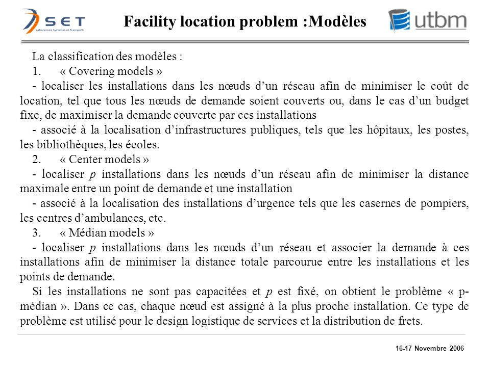 Facility location problem :Modèles