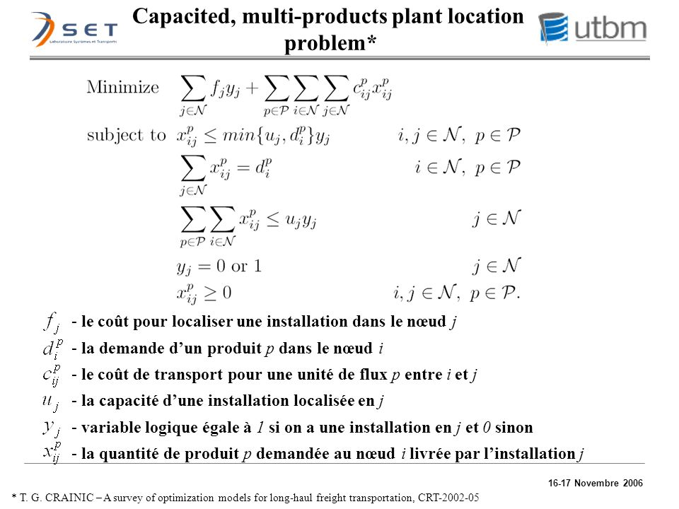 Capacited, multi-products plant location problem*