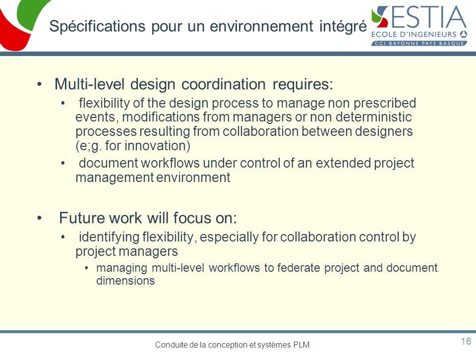 Spécifications pour un environnement intégré