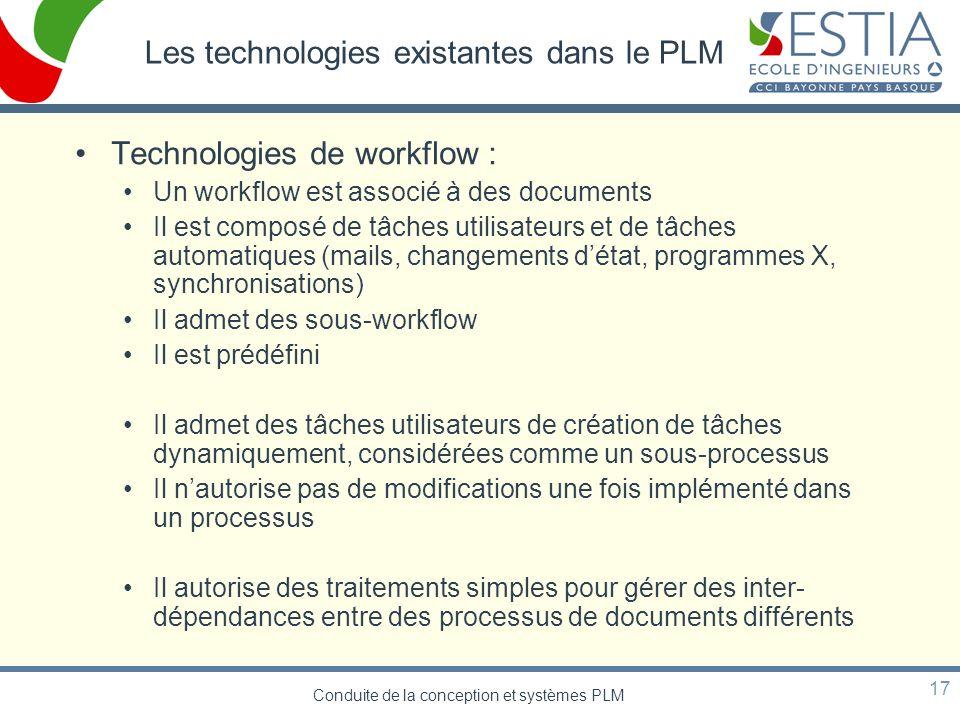 Les technologies existantes dans le PLM