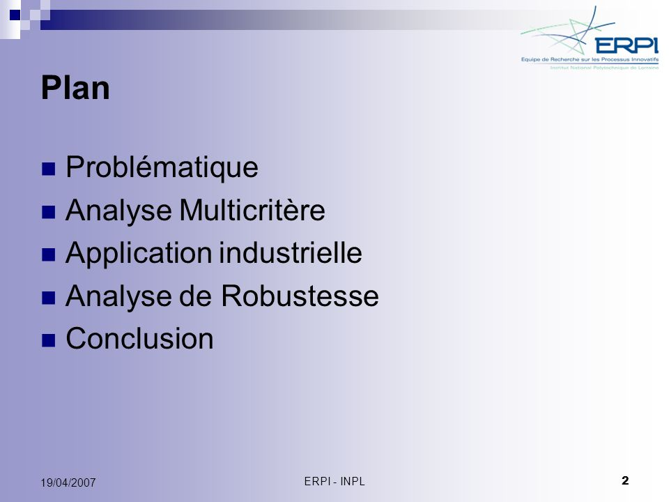 Plan Problématique Analyse Multicritère Application industrielle