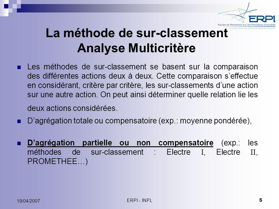 La méthode de sur-classement Analyse Multicritère