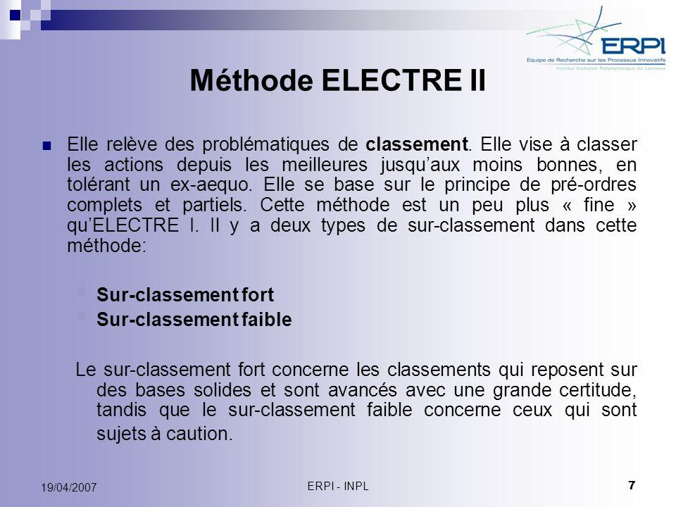 Méthode ELECTRE II