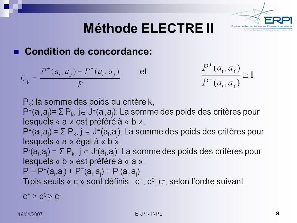 Méthode ELECTRE II Condition de concordance: et