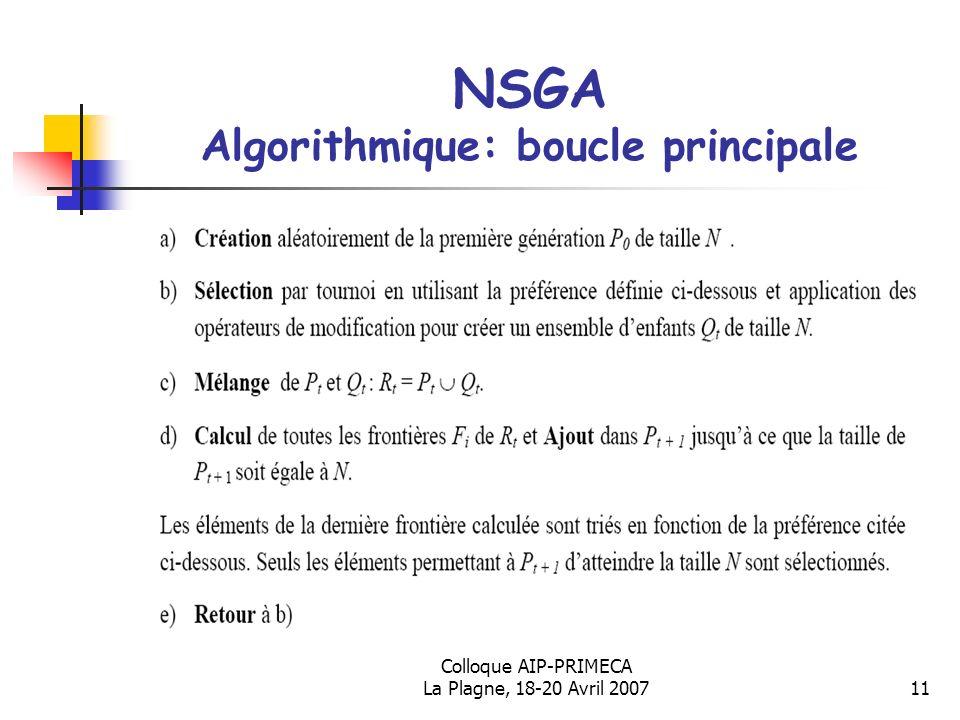 NSGA Algorithmique: boucle principale