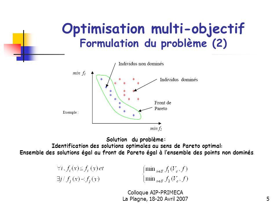 Optimisation multi-objectif Formulation du problème (2)