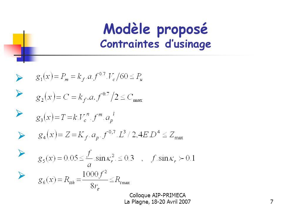 Modèle proposé Contraintes d'usinage