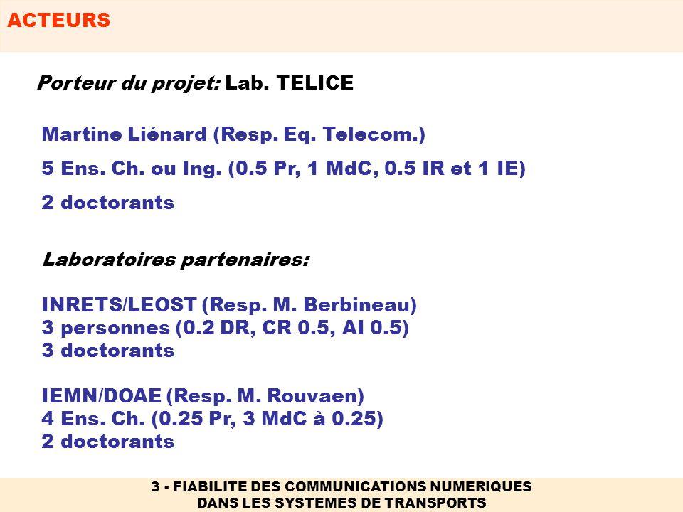 Porteur du projet: Lab. TELICE