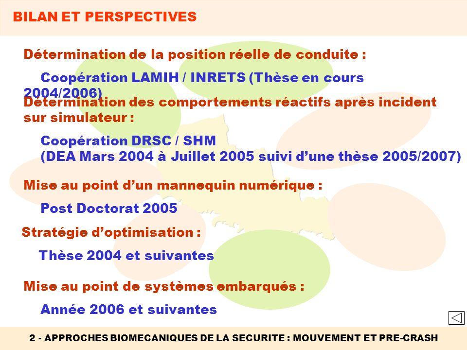 2 - APPROCHES BIOMECANIQUES DE LA SECURITE : MOUVEMENT ET PRE-CRASH