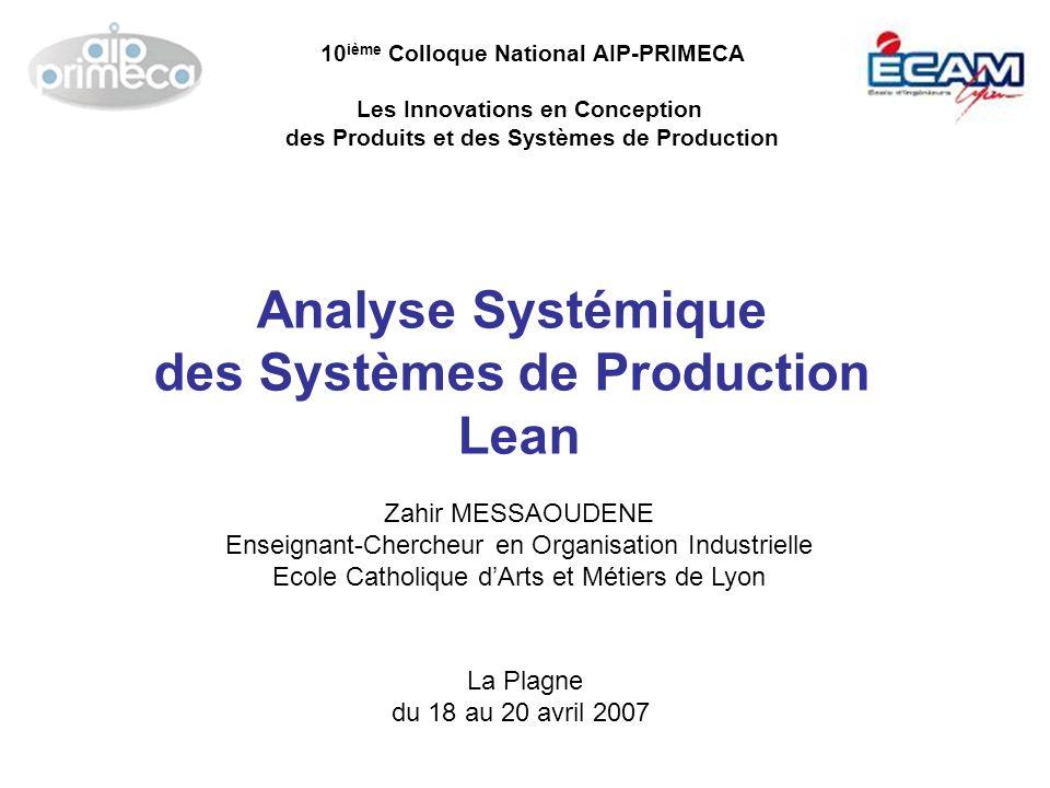 Analyse Systémique des Systèmes de Production Lean