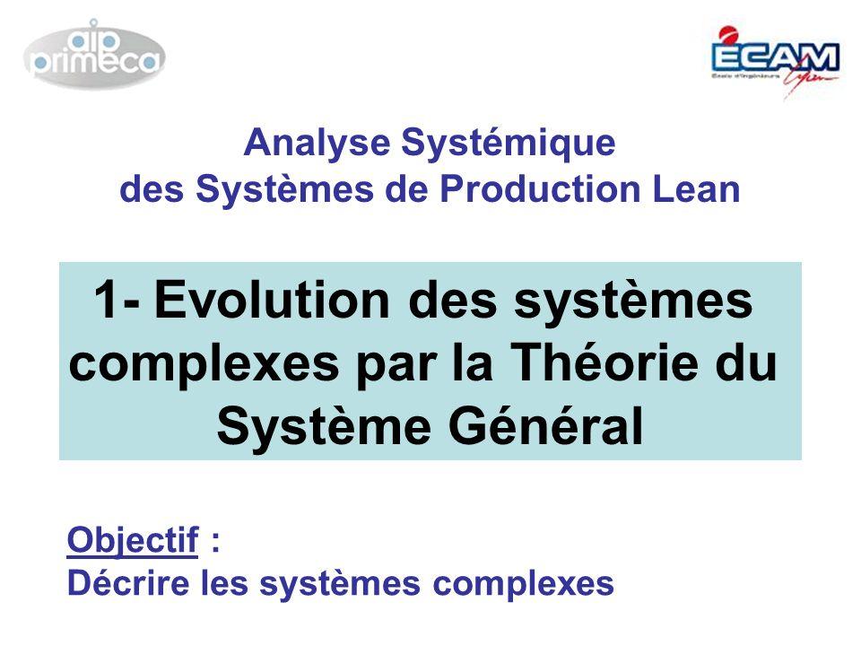 1- Evolution des systèmes complexes par la Théorie du Système Général