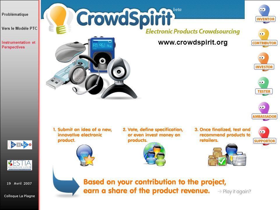 www.crowdspirit.org Problématique Vers le Modèle PTC