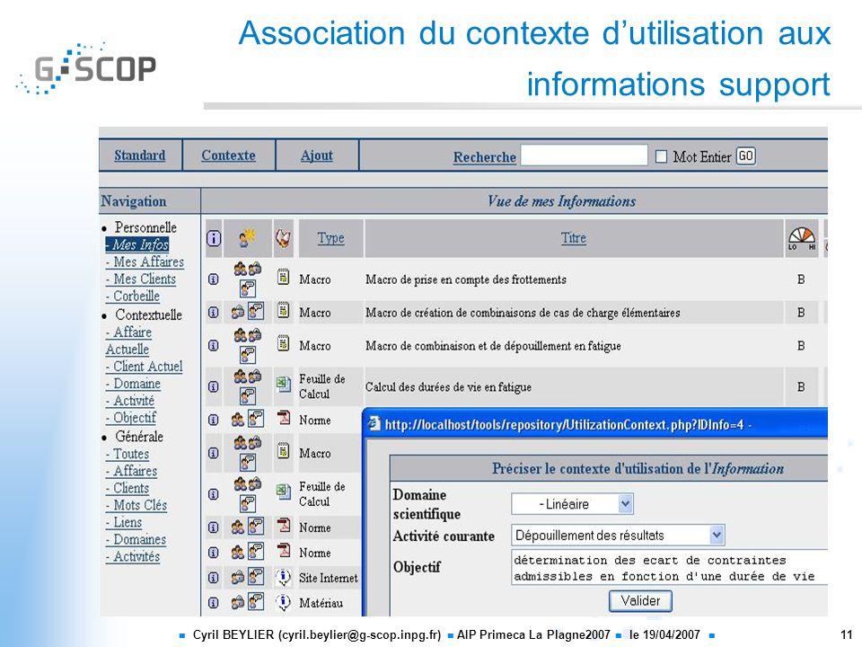 Association du contexte d'utilisation aux informations support