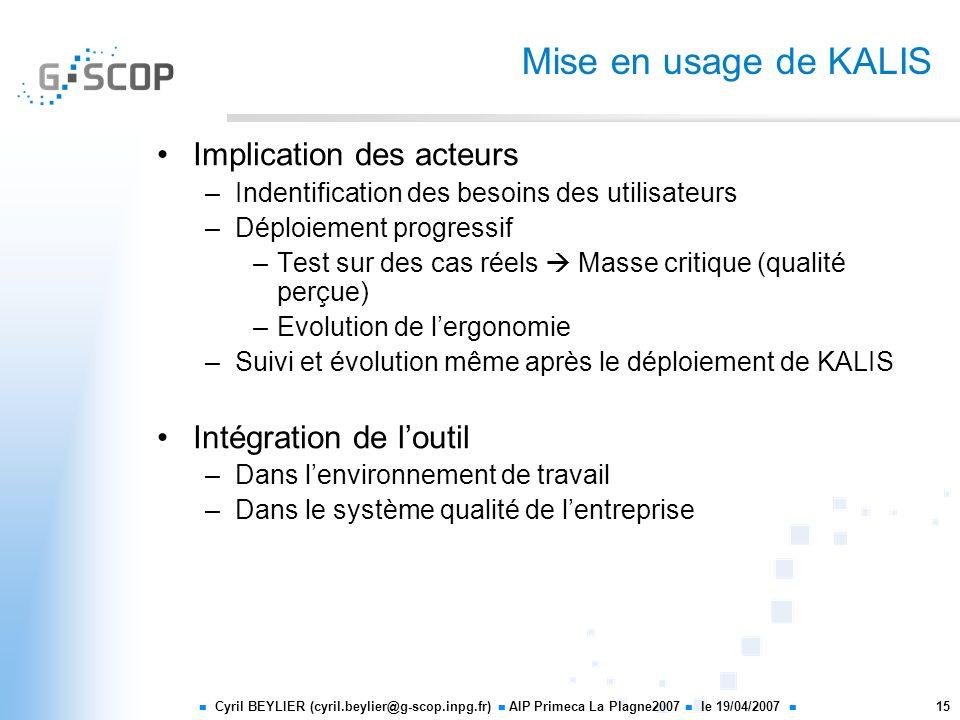 Mise en usage de KALIS Implication des acteurs Intégration de l'outil